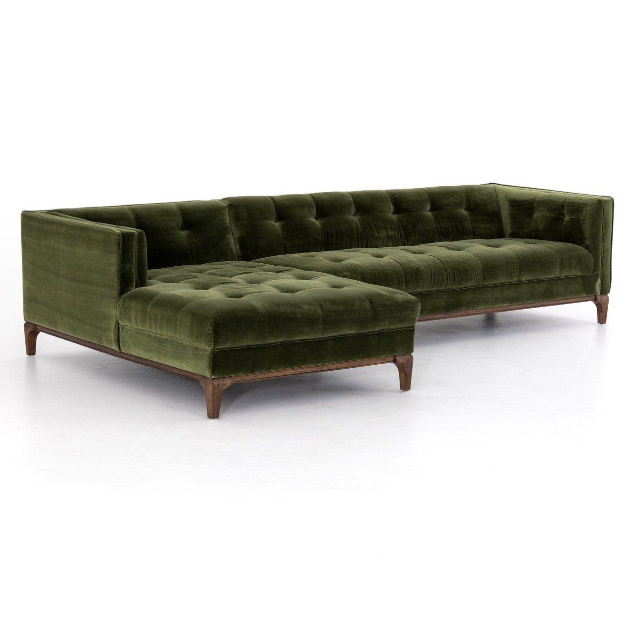 Florence Mid Century Modern Velvet Right Sectional Sofas Regarding Well Known Dylan Modern Olive Green Velvet Tufted Sectional Sofa (View 12 of 20)