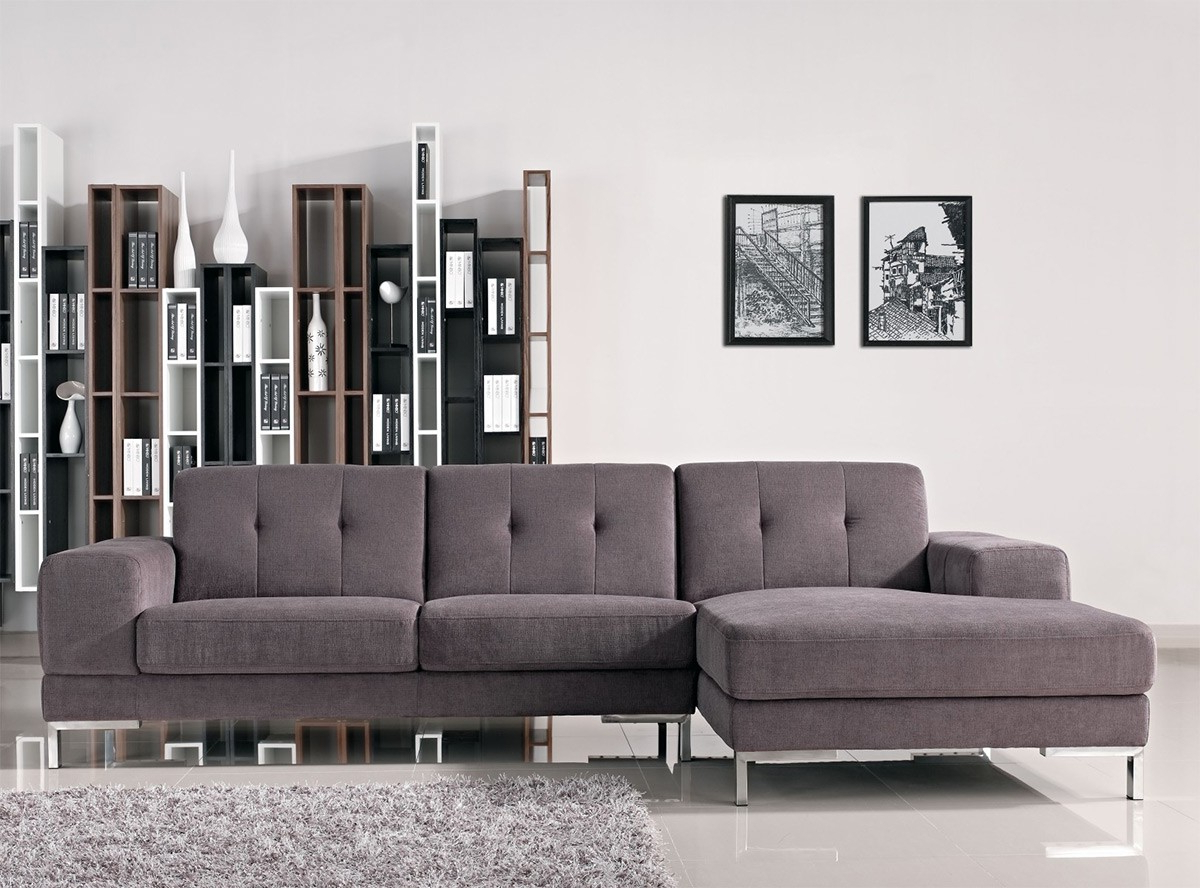 Forli L Shape Gray Fabric Sectional Sofa With Regard To Most Current Gray Sofas (View 9 of 20)