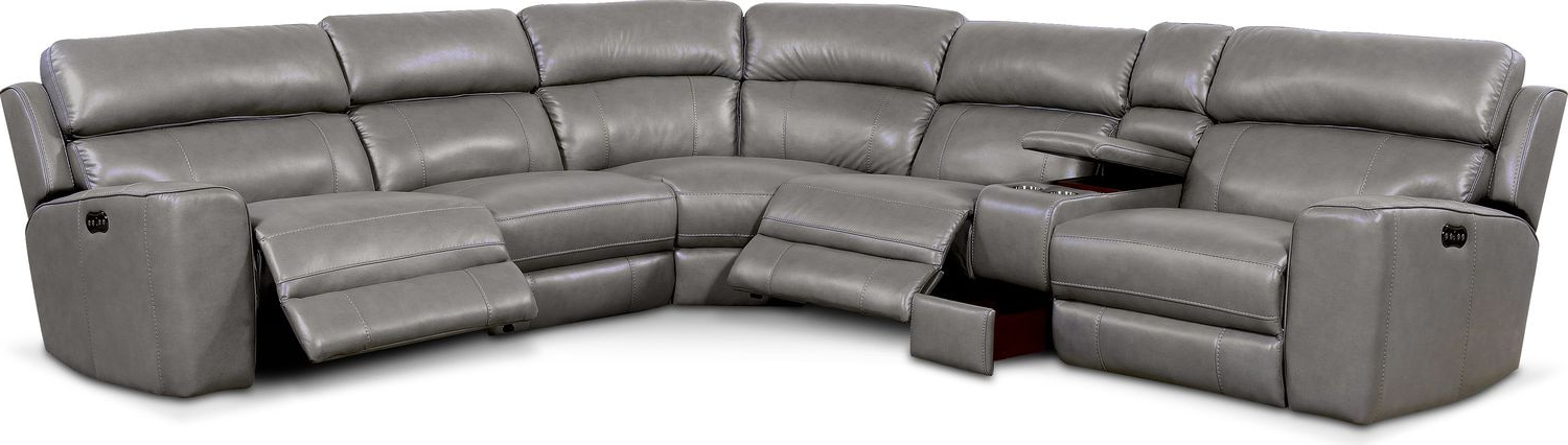 Forte Gray Power Reclining Sofas Inside Latest Newport 6 Piece Power Reclining Sectional With 3 Reclining (View 3 of 20)