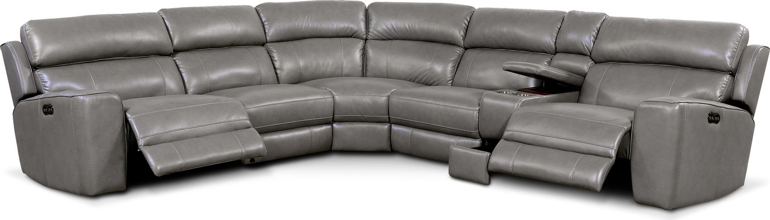 Forte Gray Power Reclining Sofas Throughout Widely Used Newport 6 Piece Power Reclining Sectional With 2 Reclining (View 1 of 20)