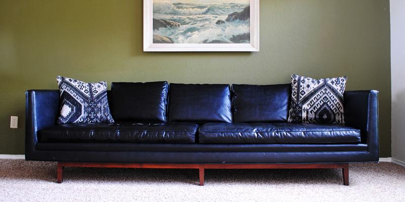 """Found: Mid Century Modern Black """"leather"""" Sofa – The Intended For Recent Dove Mid Century Sectional Sofas Dark Blue (View 15 of 20)"""