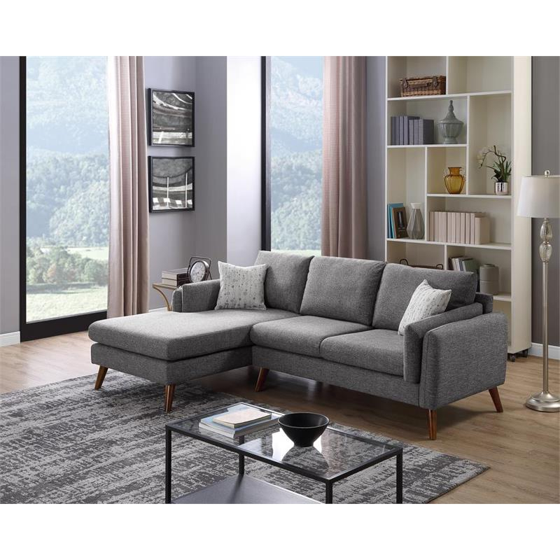 Founders Gray Mid Century Fabric Right Hand Facing Inside Popular Monet Right Facing Sectional Sofas (View 8 of 20)