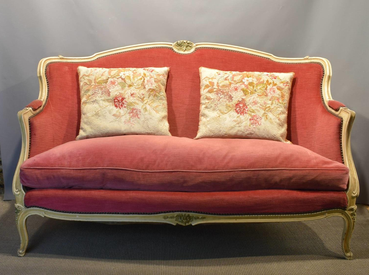 French Seamed Sectional Sofas In Velvet In Most Recently Released Vintage French Pink Velvet Sofa In Louis Xv Style In Furniture (View 19 of 20)