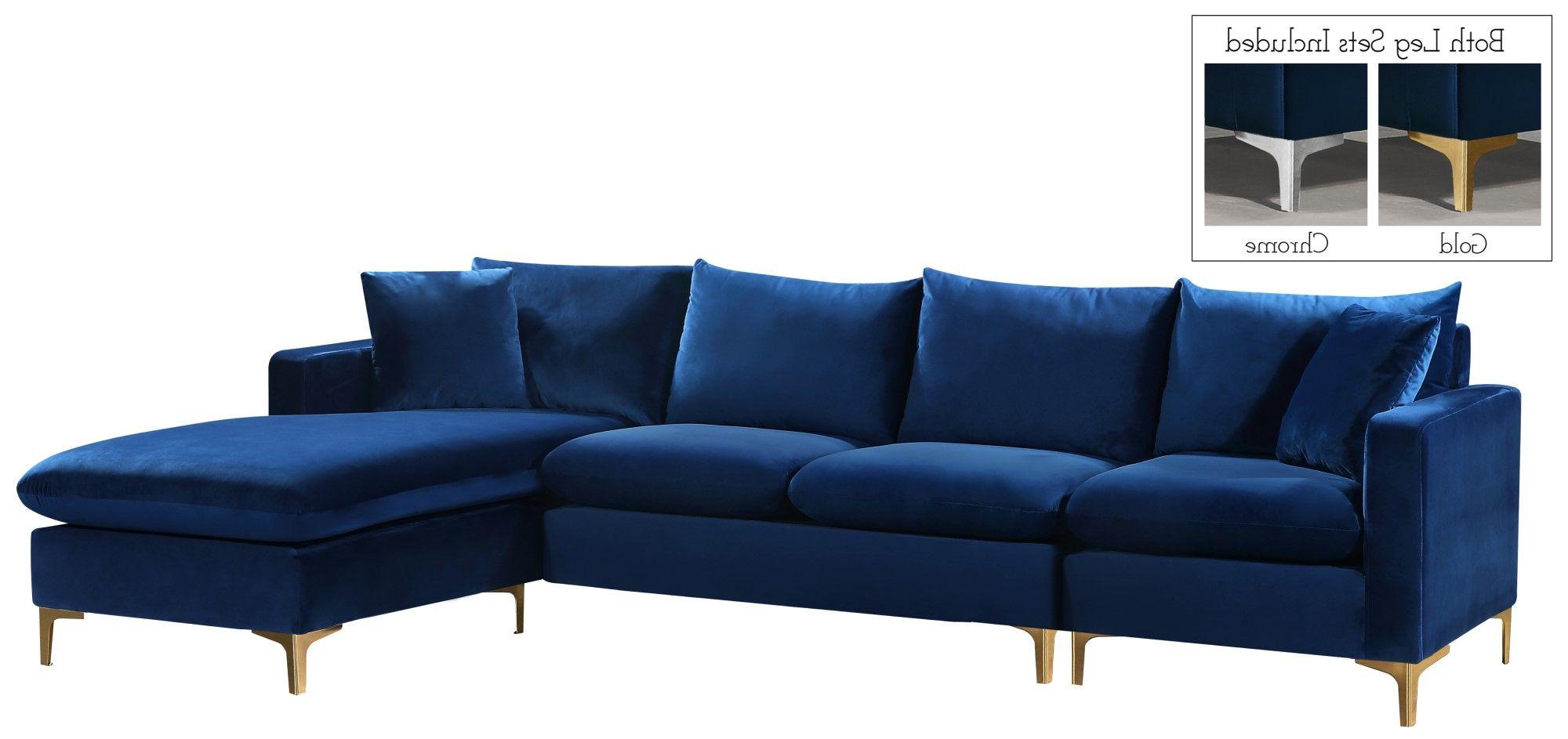 French Seamed Sectional Sofas In Velvet In Well Known Selene Contemporary Plush Navy Blue Velvet Sectional Sofa (View 15 of 20)