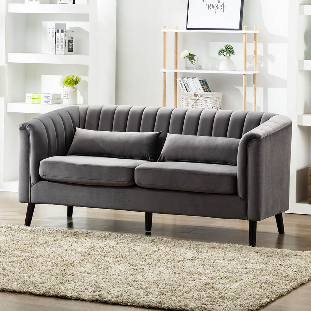 French Seamed Sectional Sofas In Velvet Pertaining To Widely Used Mairead Grey Velvet Sofa – Vintage Fluted Design – Get (View 1 of 20)