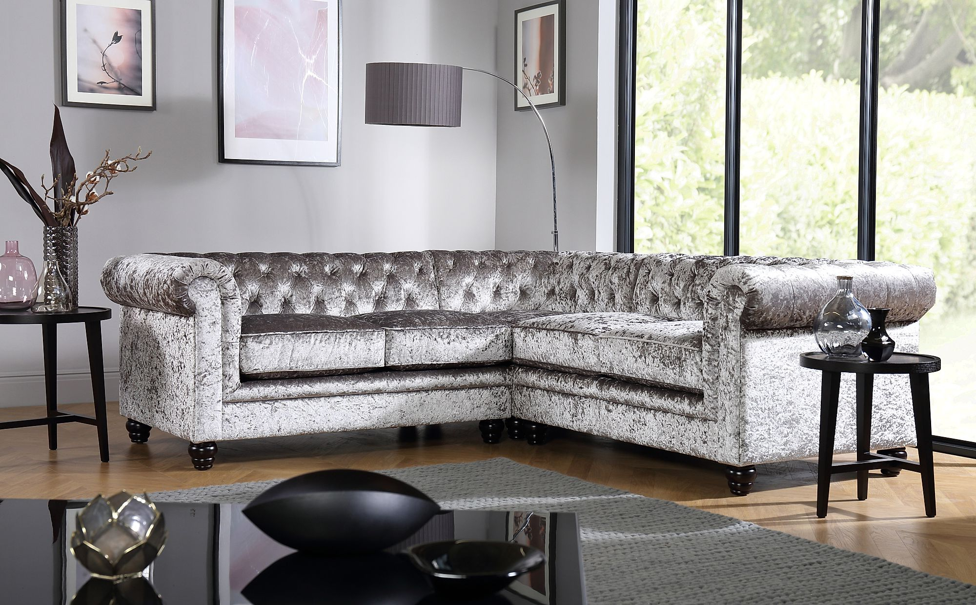 French Seamed Sectional Sofas In Velvet With Well Known Hampton Silver Crushed Velvet Chesterfield Corner Sofa (View 4 of 20)
