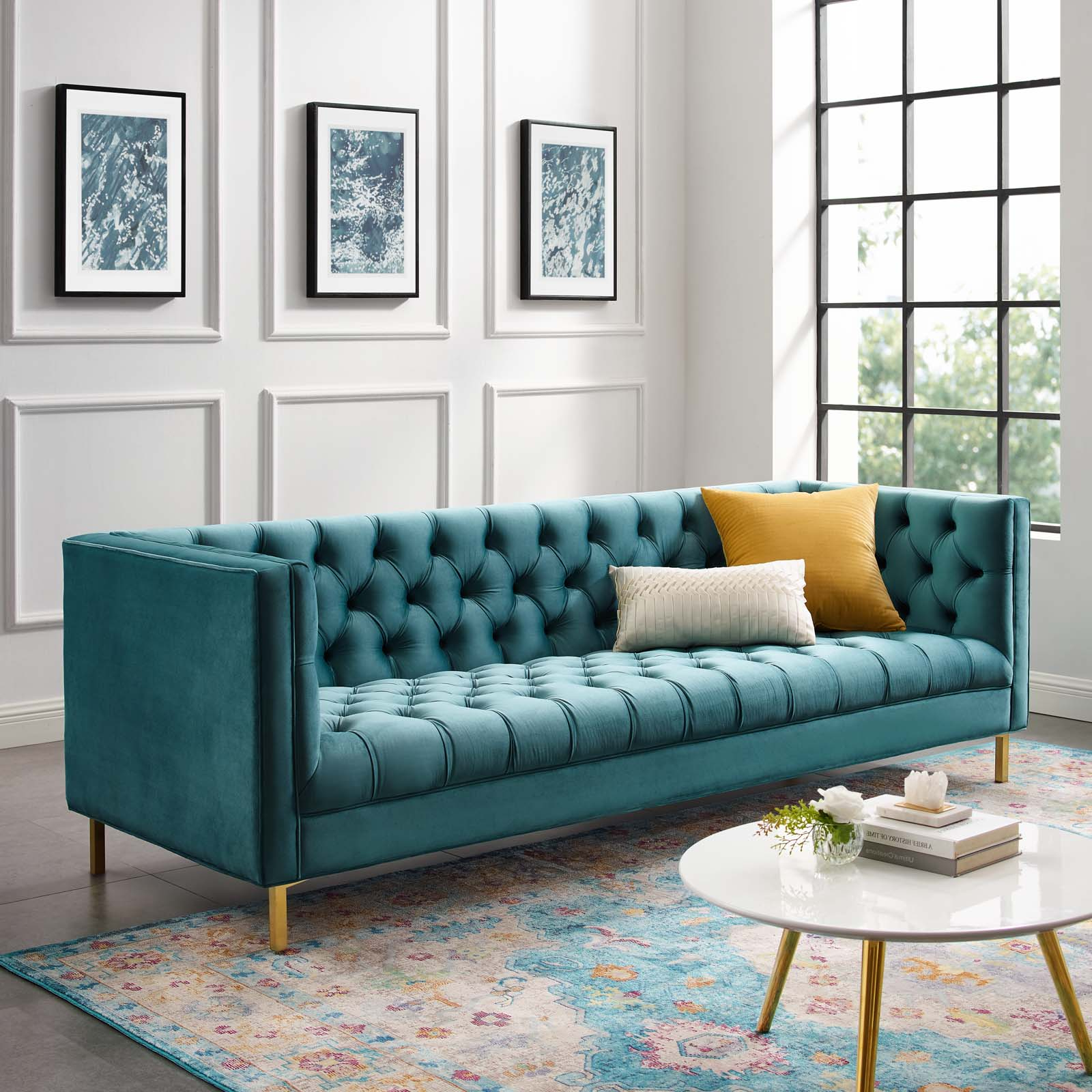 French Seamed Sectional Sofas In Velvet Within Well Known Delight Tufted Button Performance Velvet Sofa (View 9 of 20)