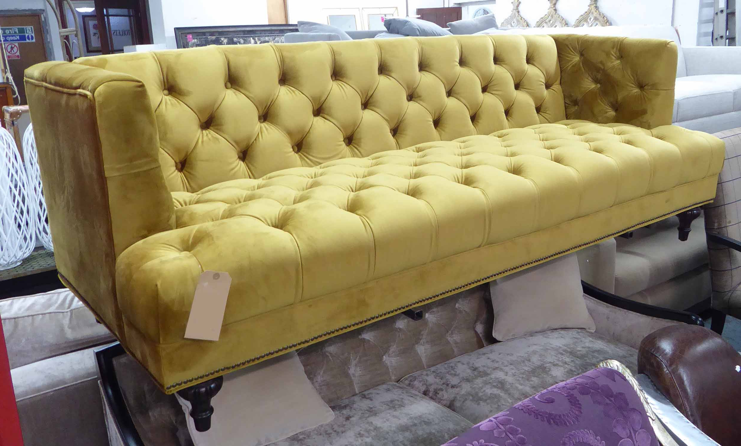 French Seamed Sectional Sofas Oblong Mustard Pertaining To 2019 Artsome For Coach House Sofa, Mustard Buttoned Finish (View 4 of 20)