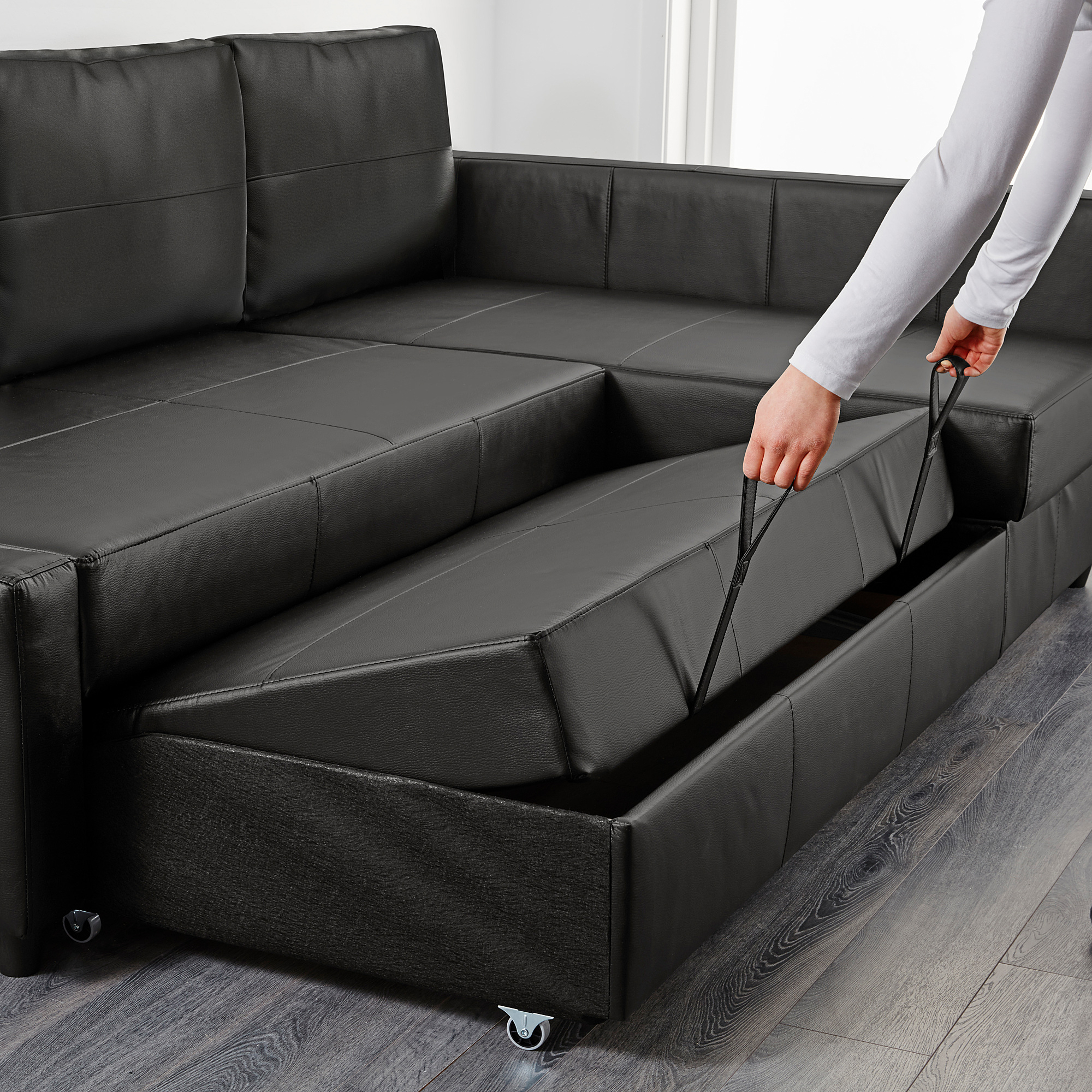 Friheten Corner Sofa Bed With Storage, Bomstad Black Intended For Favorite Celine Sectional Futon Sofas With Storage Reclining Couch (View 16 of 20)