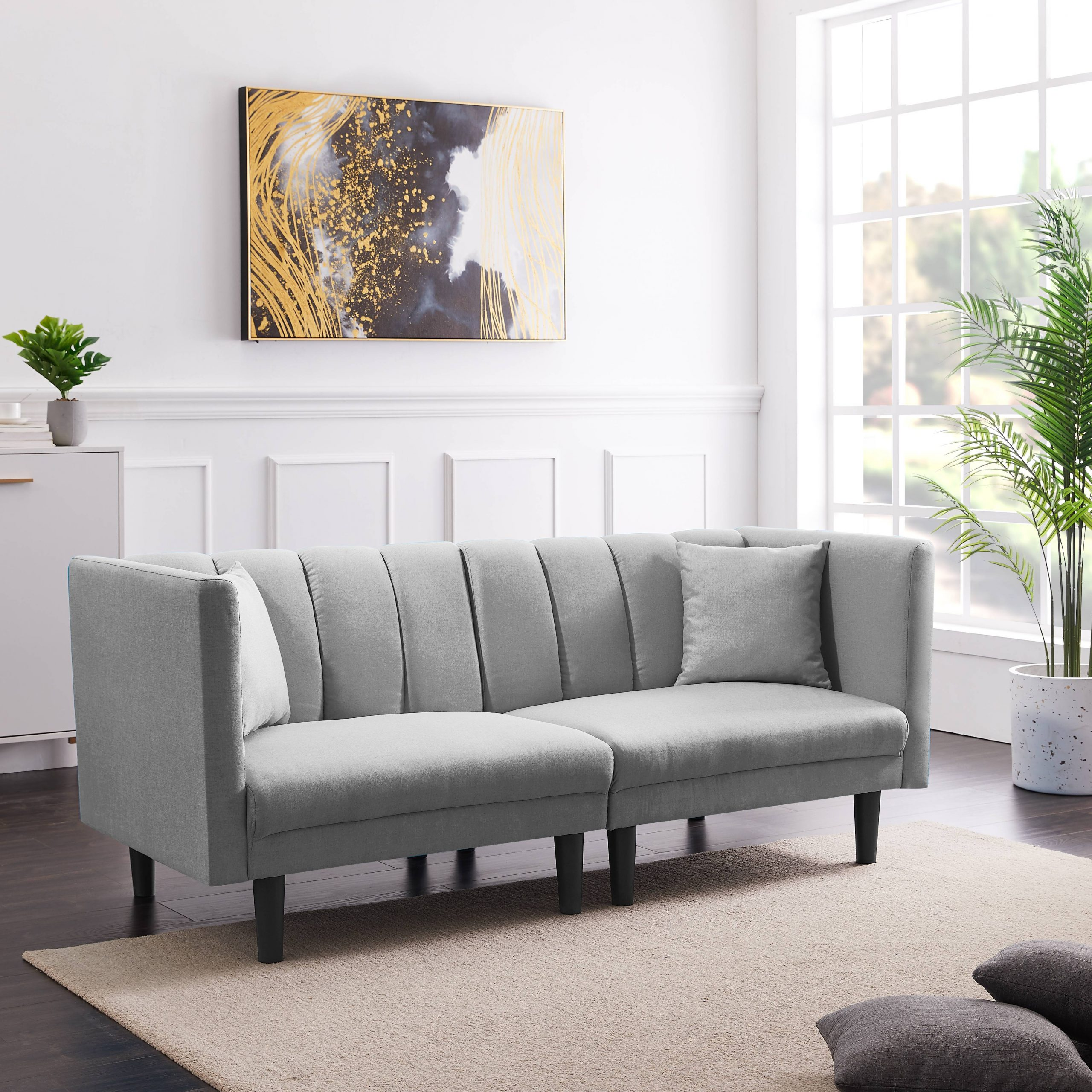 Futon Couch Bed, Modern Fabric Twin Sofa Sleeper Bed With With Fashionable Prato Storage Sectional Futon Sofas (View 3 of 20)