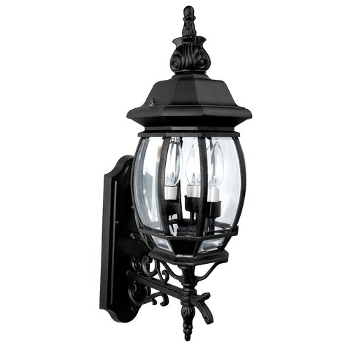 Gillian 3 – Bulb Beveled Glass Outdoor Wall Lanterns For Current Alcott Hill® Herkimer 3 – Bulb  (View 5 of 20)