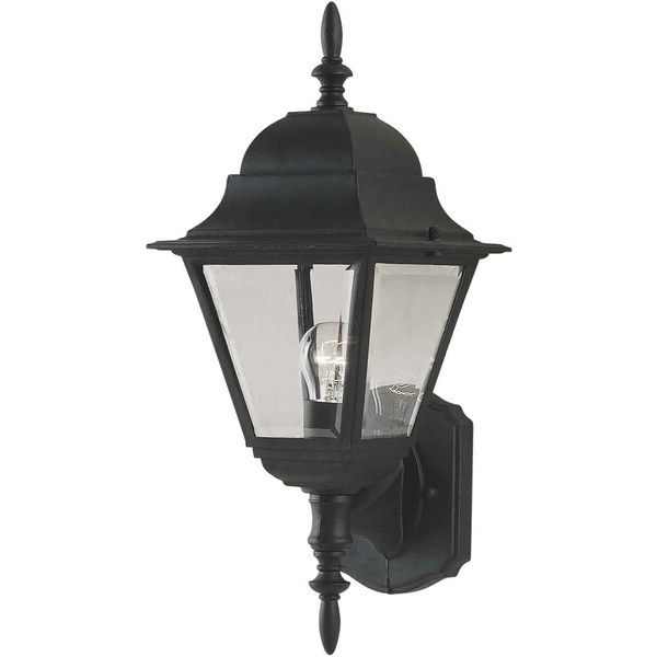 Gillian Beveled Glass Outdoor Wall Lanterns Intended For Well Known 1 Light Black Outdoor Wall Lantern With Clear Beveled (View 7 of 20)
