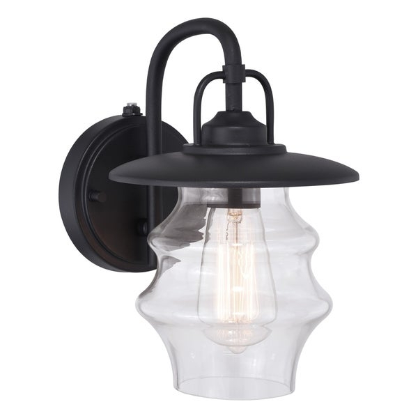 Glenn 1 Light Dusk To Dawn Black Coastal Outdoor Wall Within 2019 Brook Black Seeded Glass Outdoor Wall Lanterns With Dusk To Dawn (View 15 of 20)
