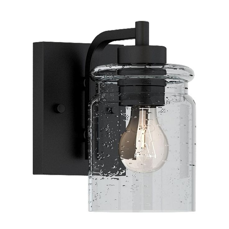 Globe Electric Crowe 1 Light Outdoor Wall Sconce, Matte Pertaining To Best And Newest Palma Black/clear Seeded Glass Outdoor Wall Lanterns (View 11 of 20)