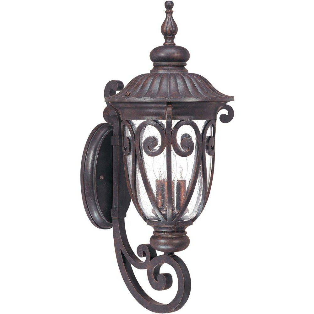 Glomar 3 Light Outdoor Burlwood Large Wall Lantern Arm Up With Recent Chelston Seeded Glass Outdoor Wall Lanterns (View 15 of 20)