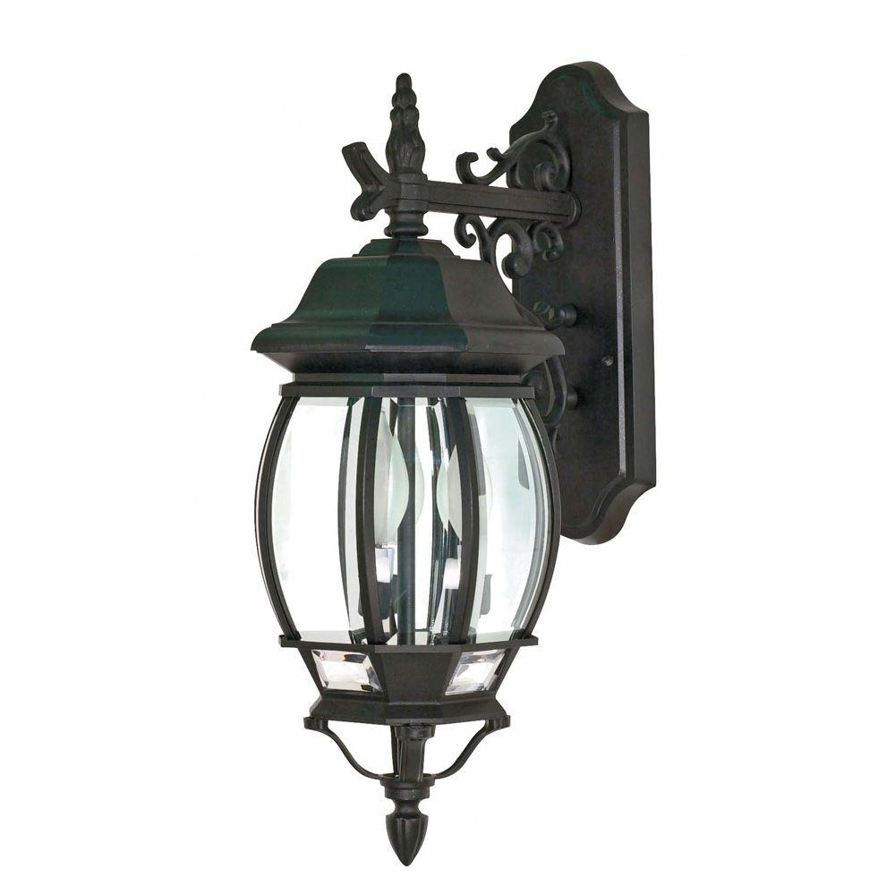 Glomar Concord 3 Light Black Textured Outdoor Wall Lantern With Regard To Most Current Roden Black 3 Bulb Outdoor Wall Lanterns (View 12 of 20)