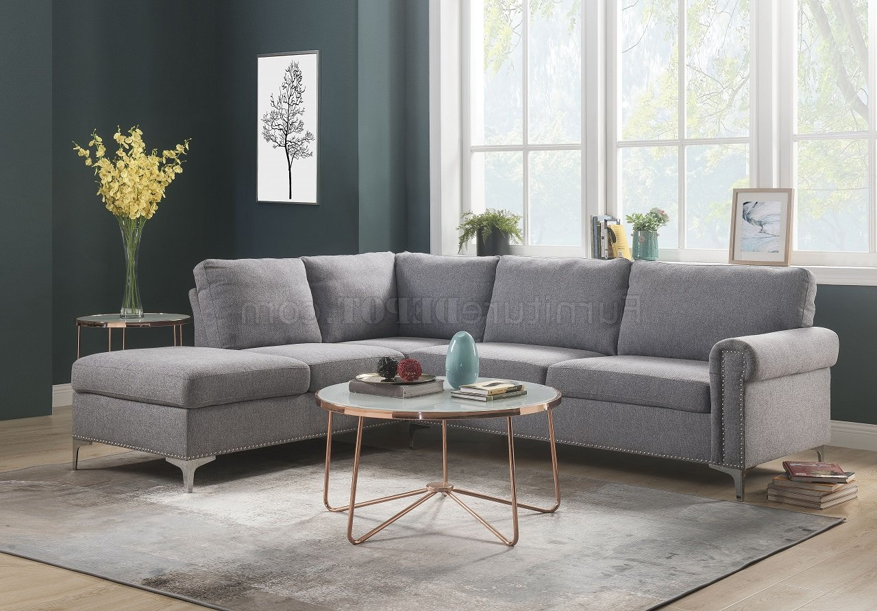 Gneiss Modern Linen Sectional Sofas Slate Gray Regarding Most Recent Melvyn Sectional Sofa 52755 In Gray Fabricacme W/options (View 8 of 20)