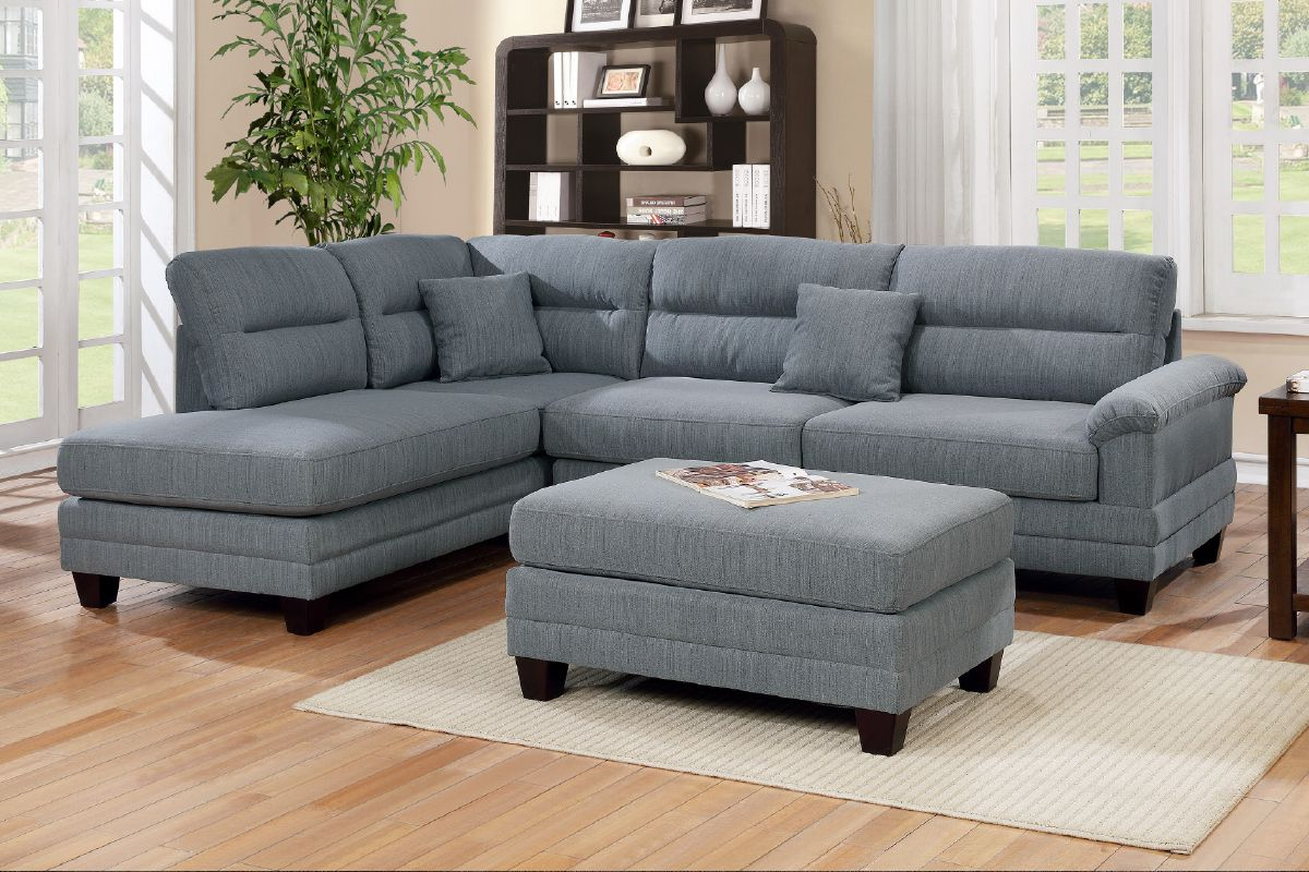 Gneiss Modern Linen Sectional Sofas Slate Gray Within Newest Grey Linen Like Fabric 3pcs Sectional Sofa Portland Oregon (View 16 of 20)