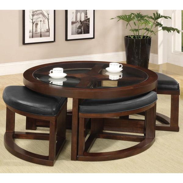 Gracie Chocolate Sofas With Regard To Most Recent Furniture Of America Gracie Dark Walnut 5 Piece Coffee (View 11 of 20)