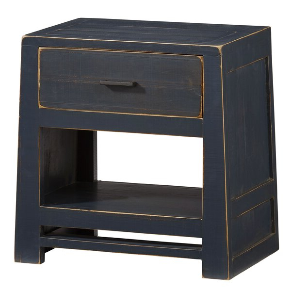 Gracie Navy Sofas In Trendy Gracie Oaks Aegon 1 – Drawer Solid Wood Nightstand In Navy (View 7 of 20)