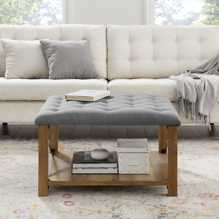 """Gracie Oaks Grube 30"""" Wide Tufted Square Cocktail Ottoman Throughout Famous Gracie Chocolate Sofas (View 17 of 20)"""