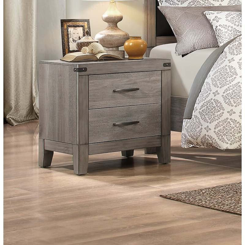 Gracie Oaks Hooksett 2 – Drawer Nightstand In Grey Brown With Regard To Newest Gracie Chocolate Sofas (View 13 of 20)