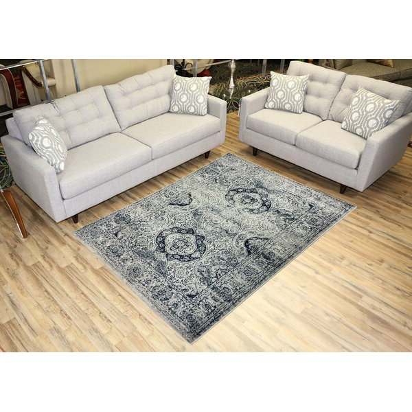 Gracie Oaks Karlstad Oriental Navy Blue/ivory Area Rug In Recent Gracie Navy Sofas (View 3 of 20)