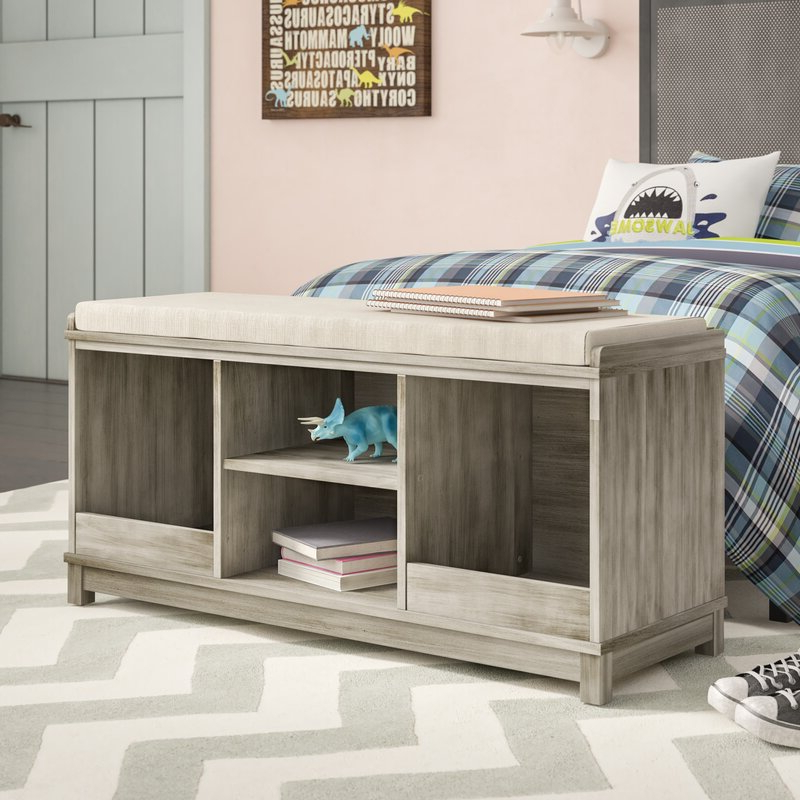 Gracie Oaks Kronqui Four Cubby Upholstered Storage Bench With Regard To Well Known Gracie Chocolate Sofas (View 18 of 20)