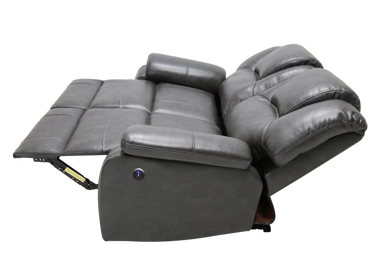 Gray Air Leather Power Reclining Sofa Set 3 Pcs Inside 2018 Pacifica Gray Power Reclining Sofas (View 10 of 20)