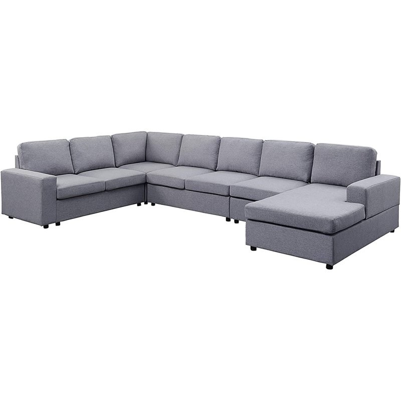 Gray Linen 7 Seat Reversible Modular Sectional Sofa Chaise Inside Recent Paul Modular Sectional Sofas Blue (View 12 of 20)