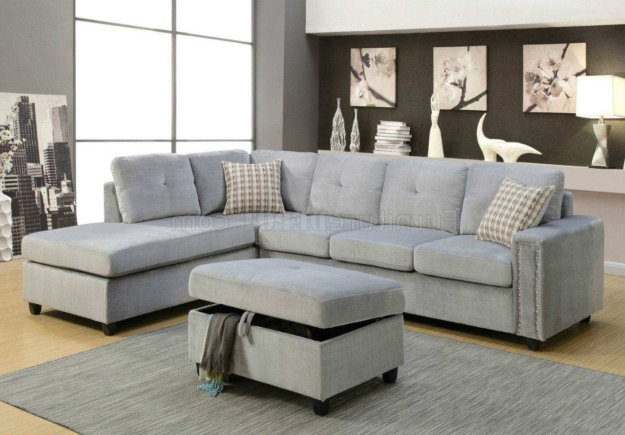 Gray Sofas Inside Most Up To Date Belville Sectional Sofa 52710 In Gray Velvetacme W/options (View 6 of 20)