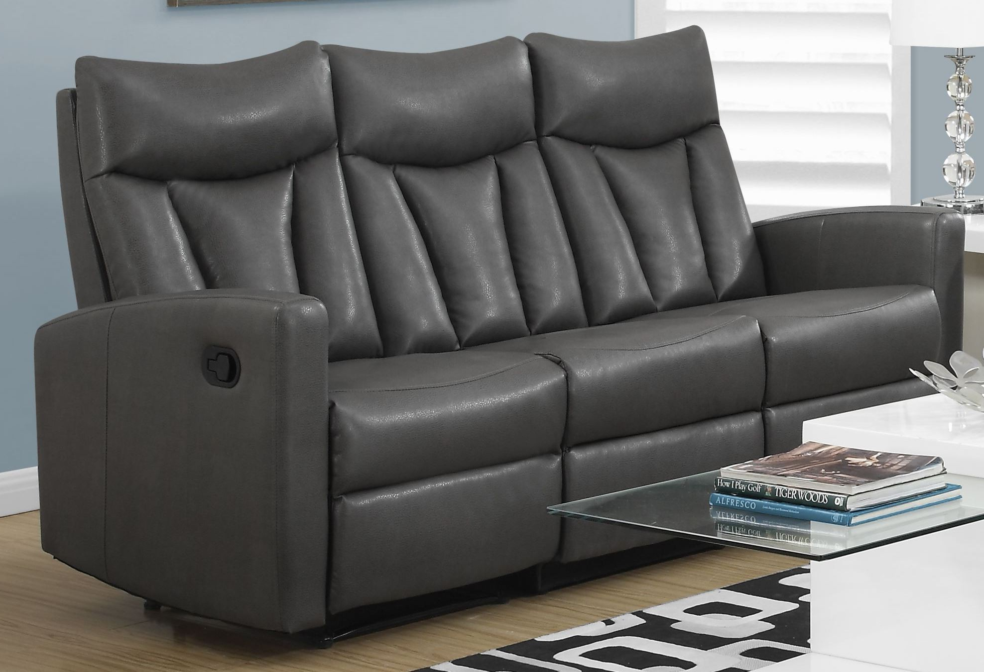 Gray Sofas Inside Well Liked 87gy 3 Charcoal Gray Bonded Leather Reclining Sofa From (View 4 of 20)