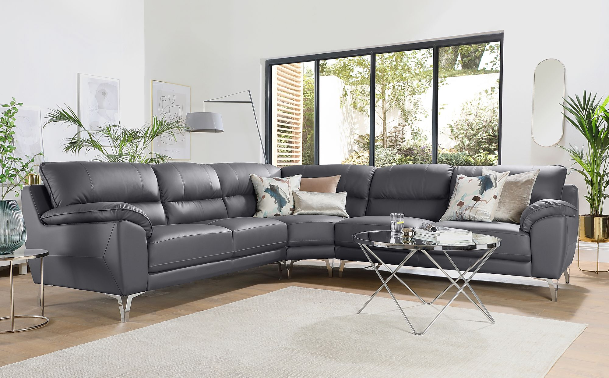 Gray Sofas Intended For Most Up To Date Madrid Grey Leather Corner Sofa (View 1 of 20)