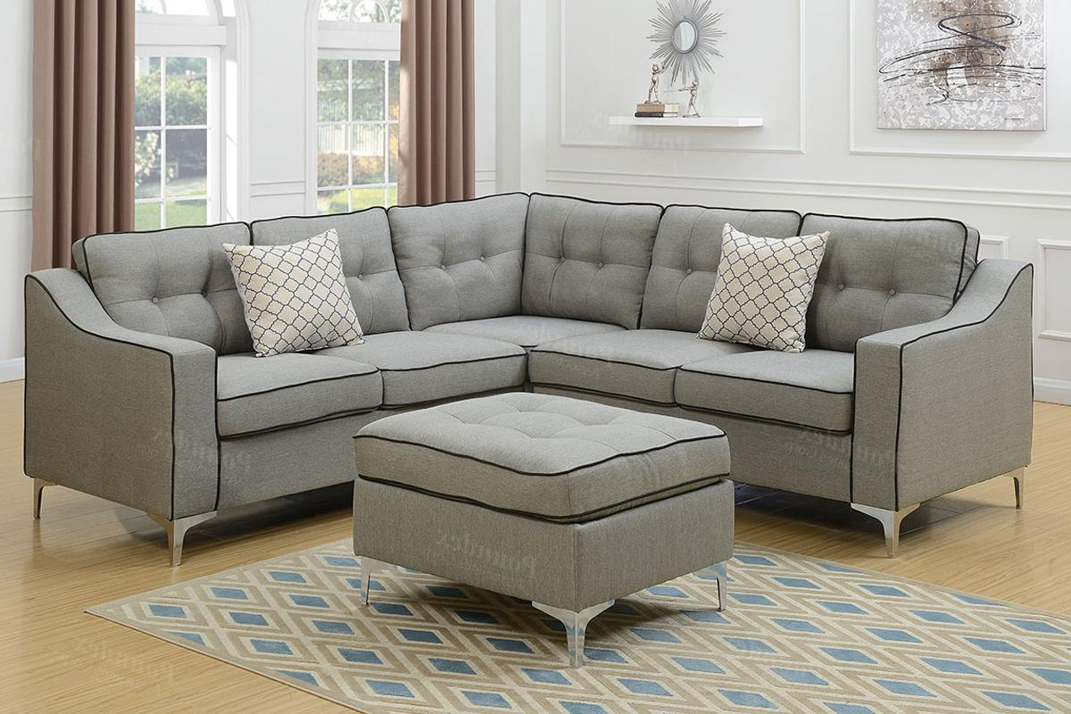 Grey Fabric Sectional Sofa And Ottoman – Steal A Sofa Within Trendy Sectional Sofas In Gray (View 8 of 20)