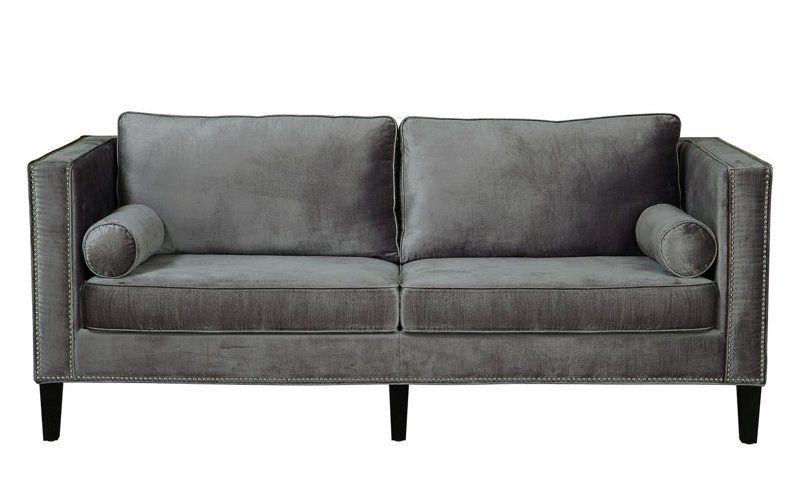 Grey Velvet Sofa, Velvet Sofa Inside Recent 4pc French Seamed Sectional Sofas Velvet Black (View 15 of 20)
