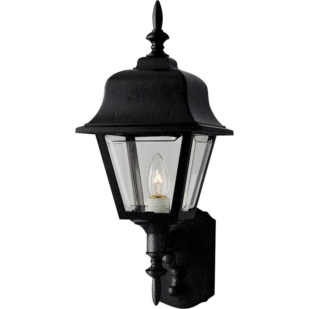 Hampton Bay 1 Light Black Dusk To Dawn Outdoor Wall For Best And Newest Bellefield Black Outdoor Wall Lanterns (View 2 of 20)