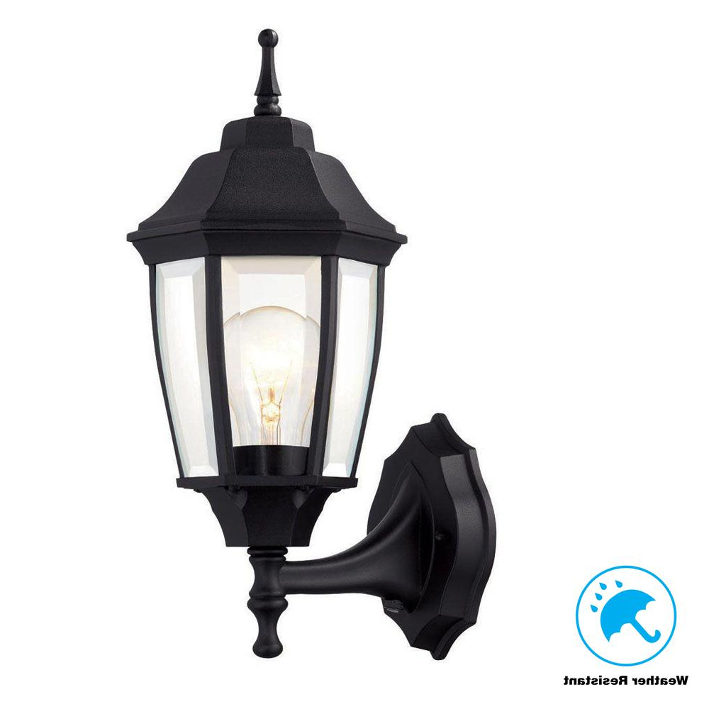 Hampton Bay 1 Light Black Dusk To Dawn Outdoor Wall Within Best And Newest 1 – Bulb Outdoor Wall Lanterns (View 7 of 20)