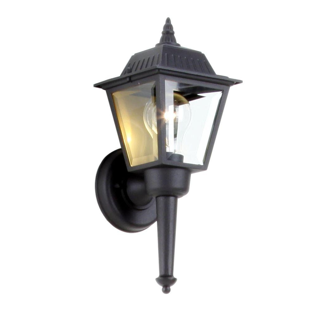 Hampton Bay 1 Light Black Outdoor Wall Mount Lantern Within Widely Used Vendramin Black Glass Outdoor Wall Lanterns (View 15 of 20)
