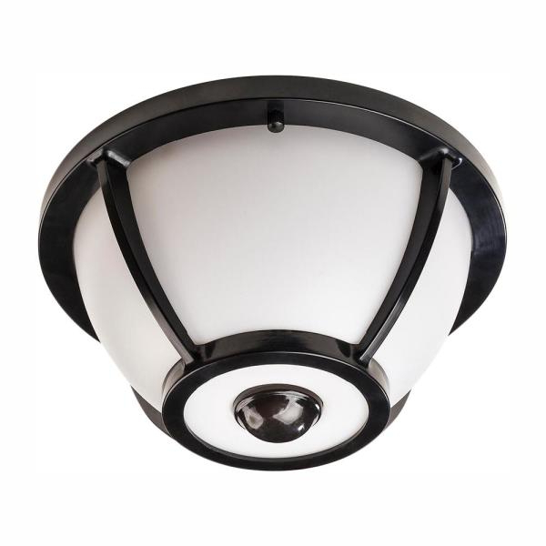 Hampton Bay 360 Degree Matte Black Round Integrated Led In Trendy Whisnant Black Integrated Led Frosted Glass Outdoor Flush Mount (View 17 of 20)
