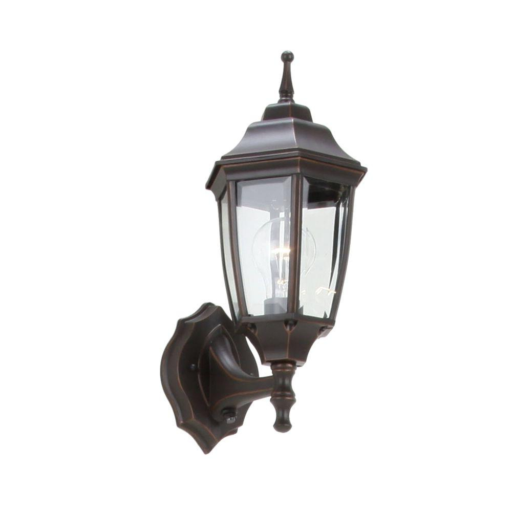 Hampton Bay Bpp1611 Orb Oil Rubbed Bronze Outdoor Dusk To With 2018 Verne Oil Rubbed Bronze Beveled Glass Outdoor Wall Lanterns (View 2 of 20)