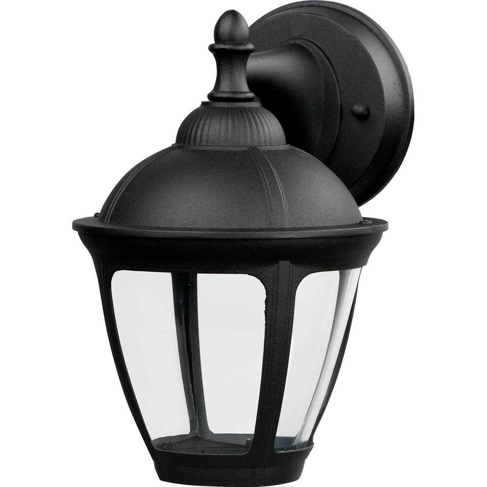 Hampton Bay Dawson Black Outdoor Integrated Led Wall Mount Intended For Most Current Vendramin Black Glass Outdoor Wall Lanterns (View 5 of 20)