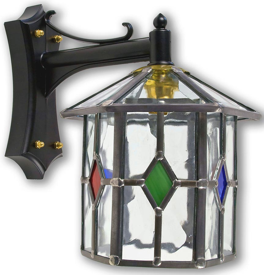 Handmade Hexagonal Multi Coloured Leaded Glass Outdoor For Popular Gillian Beveled Glass Outdoor Wall Lanterns (View 6 of 20)