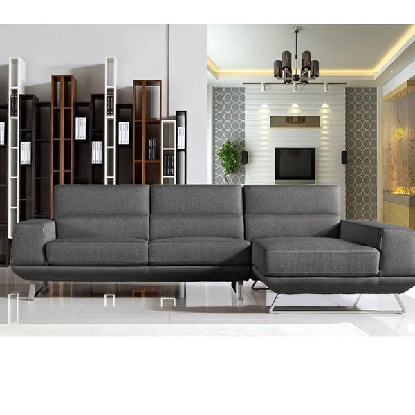 Hannah Left Sectional Sofas In Widely Used Shop Bullock Dark Grey Fabric Left Facing Sectional Sofa (View 19 of 20)