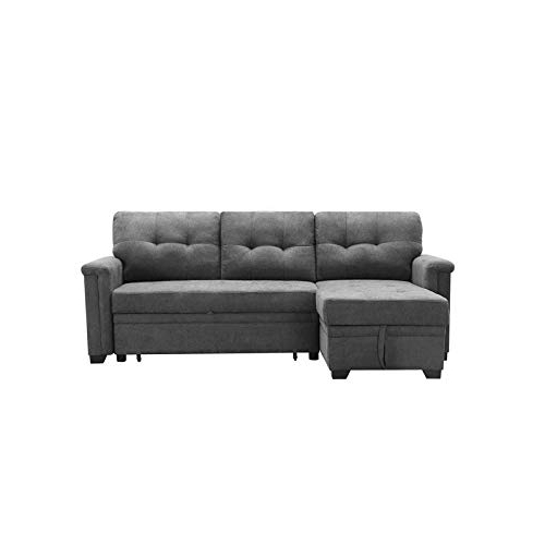Harmon Roll Arm Sectional Sofas Inside 2018 Maklaine Contemporary Gray Fabric Reversible/sectional (View 8 of 20)