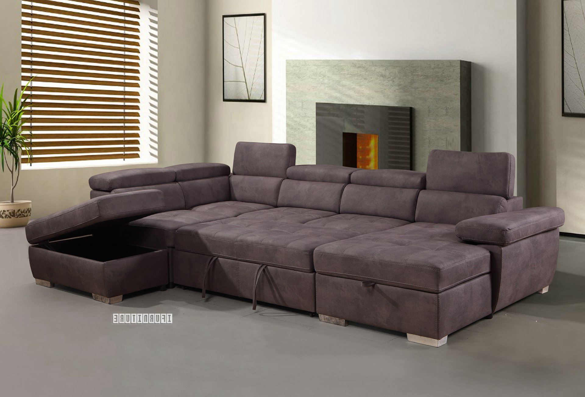 Hartford Storage Sectional Futon Sofas For Well Liked Amando Sectional Sofa/ Sofa Bed With Storage *titanium Grey (View 12 of 20)