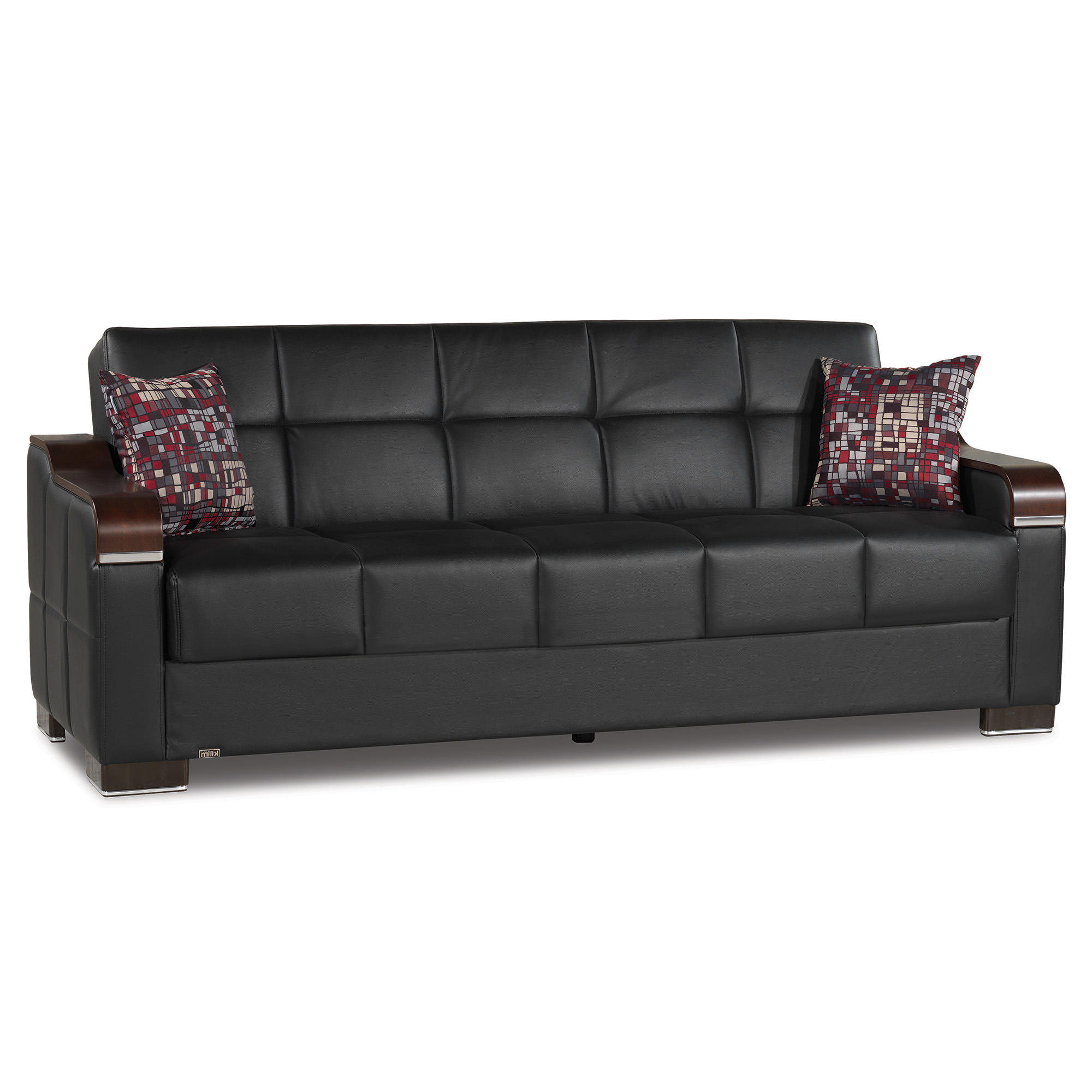 Hartford Storage Sectional Futon Sofas Pertaining To Recent Uptown Leather Wooden Accent Arm Sleeper Sofa Bed With (View 2 of 20)