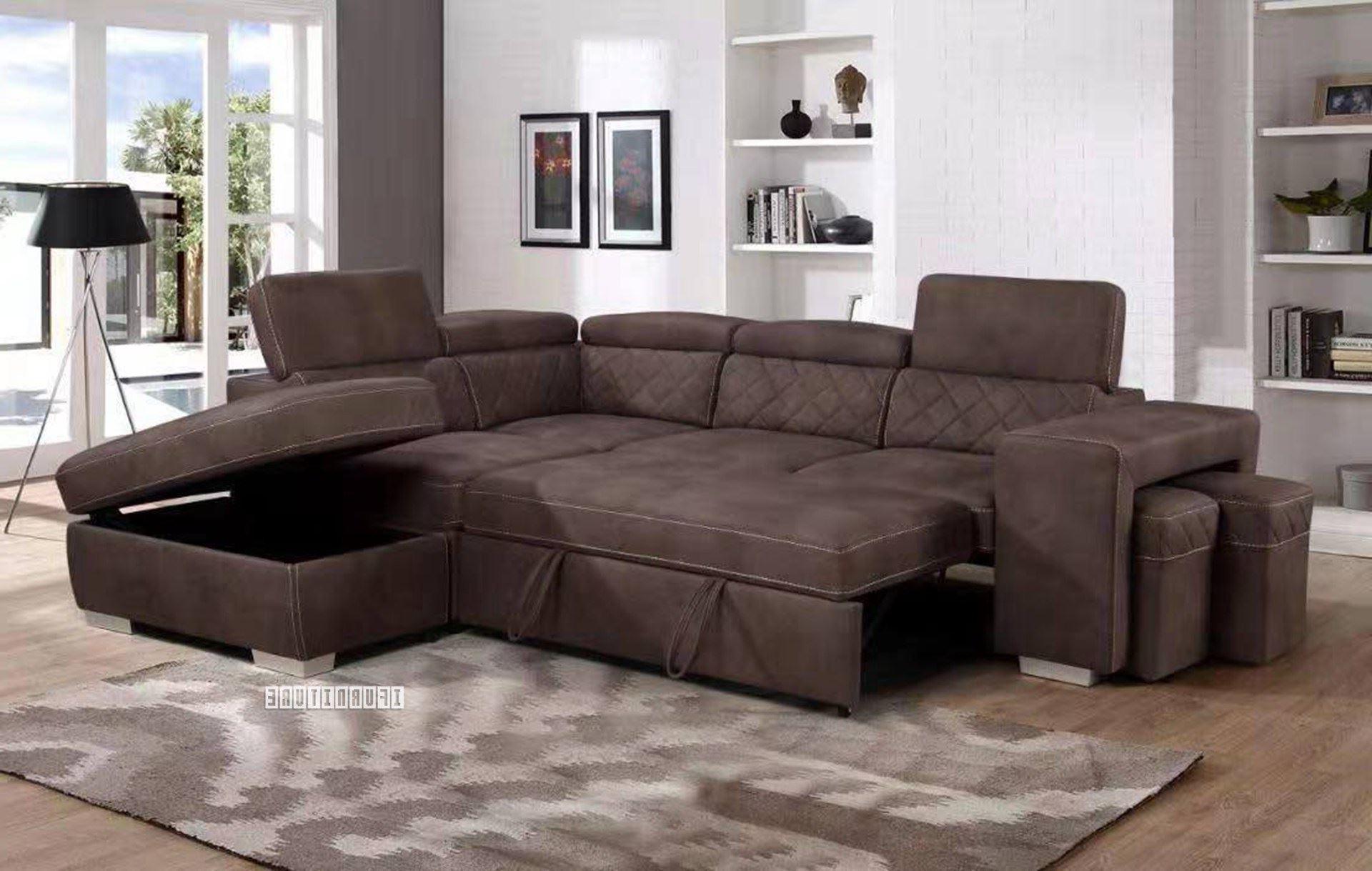 Hartford Storage Sectional Futon Sofas Regarding Preferred Aria Sectional Sofa/ Sofa Bed With Storage & 2 Ottomans (View 16 of 20)