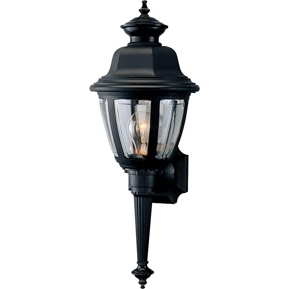 Heitman Black Wall Lanterns For Popular Hampton Bay 1 Light Black Dusk To Dawn Outdoor Wall (View 16 of 20)