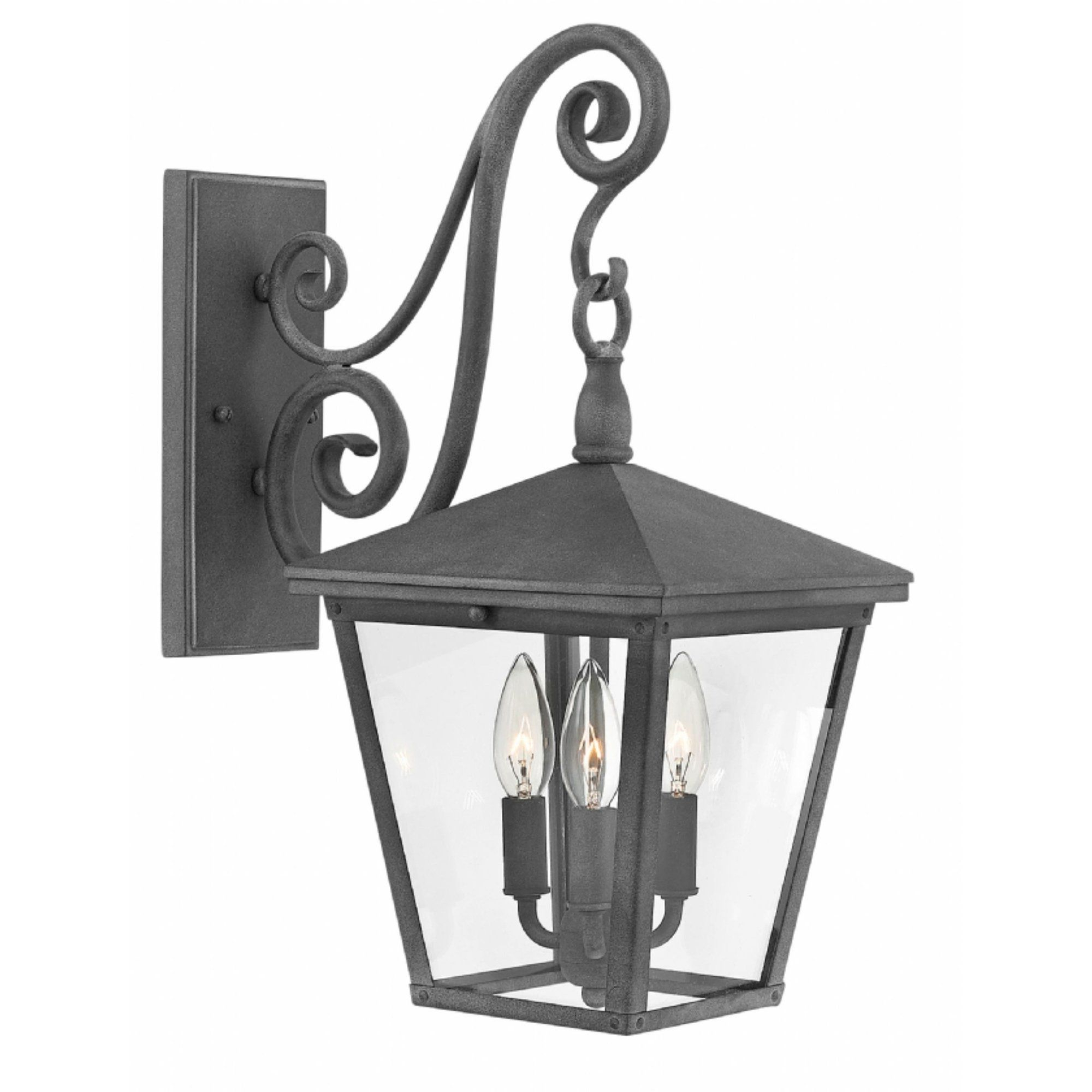 Hinkley Trellis 3 Light Outdoor Wall Mount In Aged Zinc Throughout Newest Roden Black 3 Bulb Outdoor Wall Lanterns (View 10 of 20)