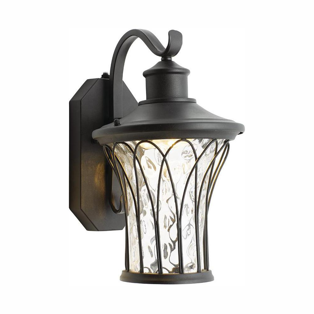 Home Decorators Collection Black Medium Outdoor Led Dusk Throughout Latest Socorro Black Outdoor Wall Lanterns (View 12 of 20)